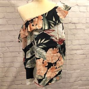 Ann Taylor one shoulder floral blouse